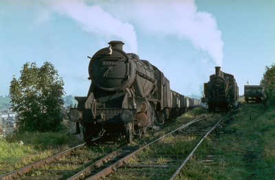 48706 at the head of a line of empty wagons at Norton Hill Colliery in October 1965.
