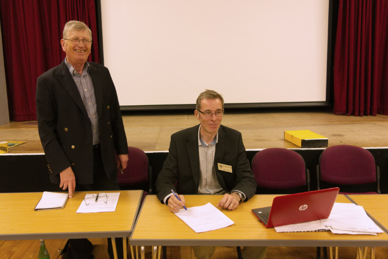 Ian Young, Chairman of S&DRT Ltd. (left) and Ian Coleby, Chairman of West Somerset Railway PLC signing the new lease.