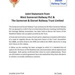 Joint Statement from West Somerset Railway PLC & The Somerset & Dorset Railway Trust Limited