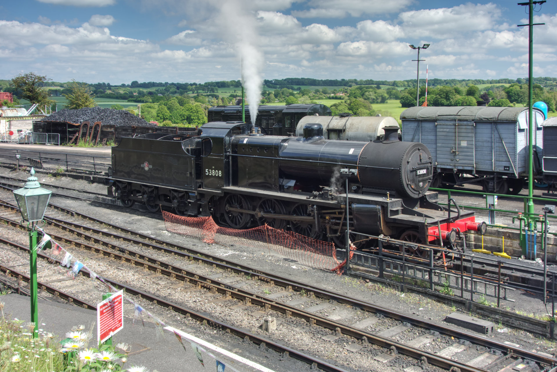 53808 on a steam test at Ropley