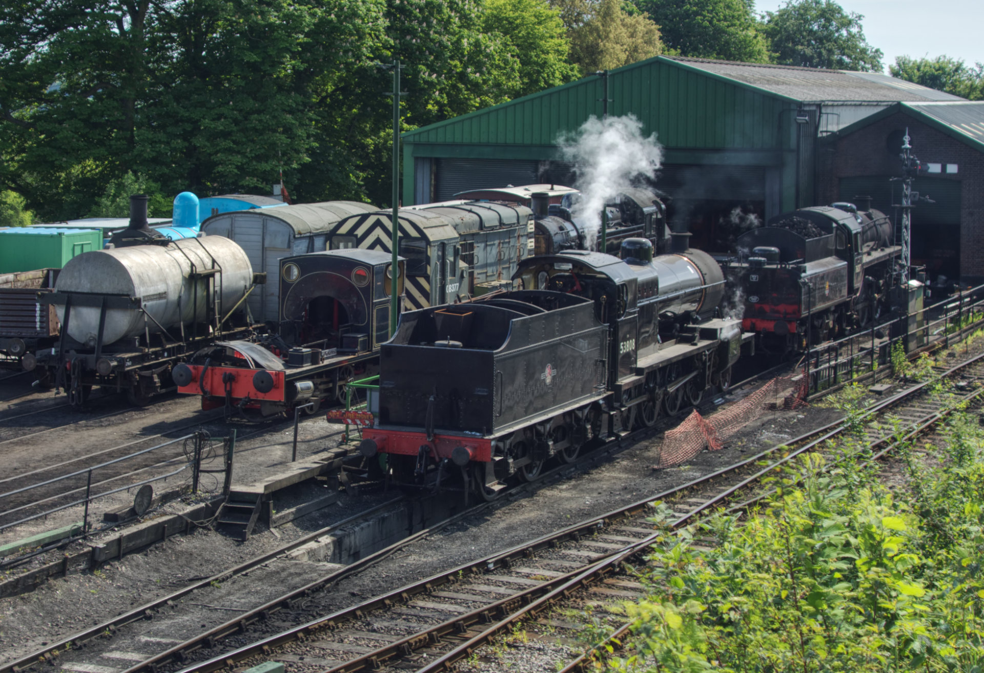 53808 on steam test at Ropley with Kilmersdon alongside