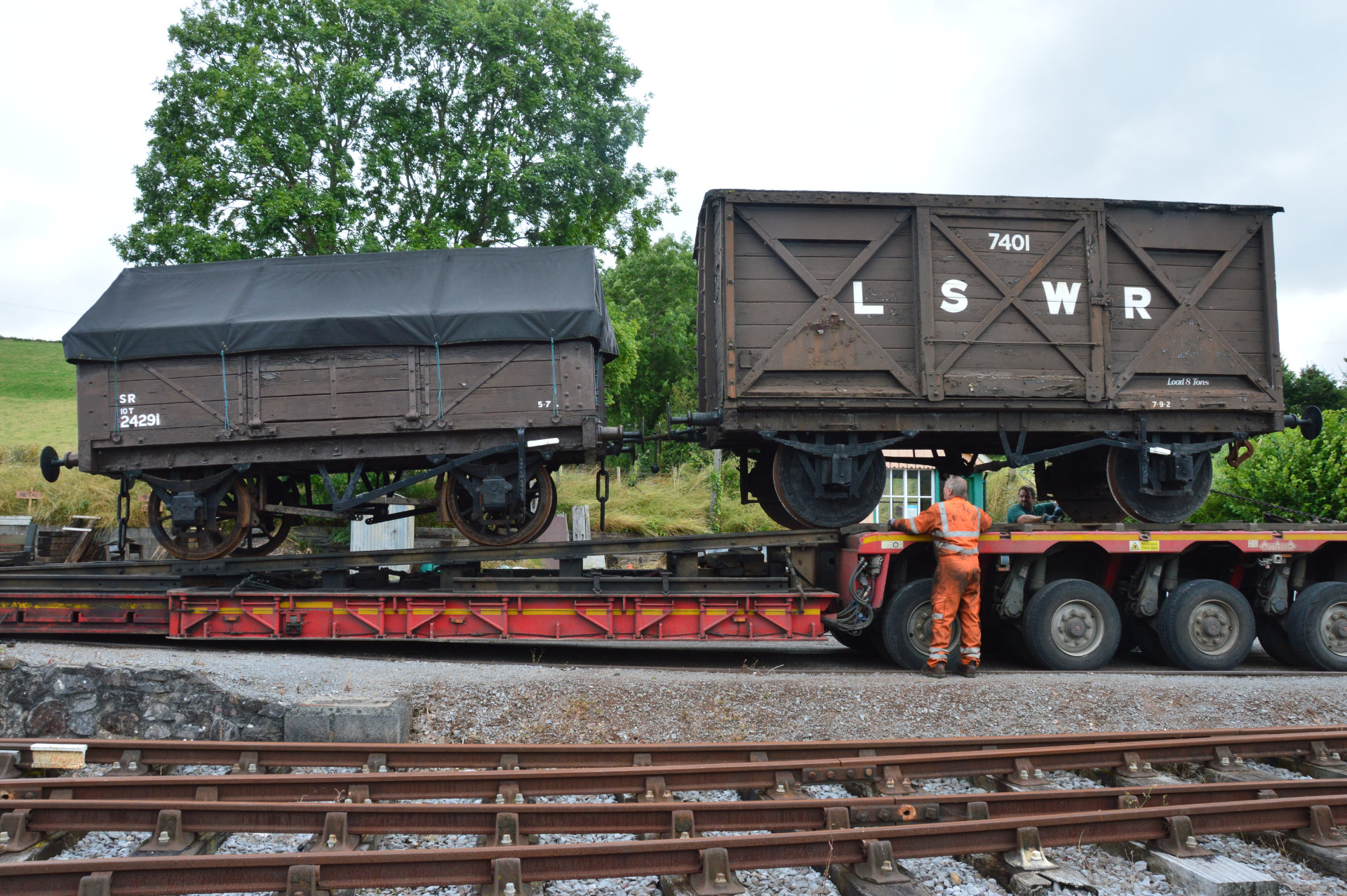 L&SWR van (SR 42XXX) and LB&SCR wagon 24291 at Washford